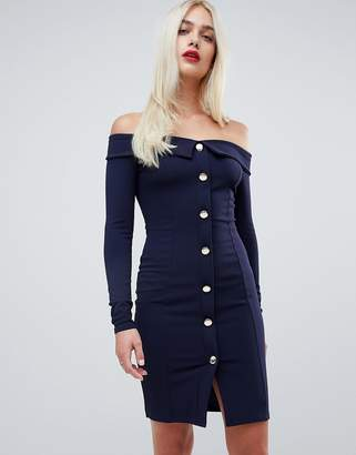 eac4008f1ee Outrageous Fortune off shoulder long sleeve tuxedo mini dress in navy