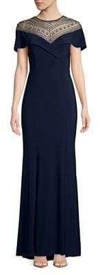 Xscape Evenings Beaded Flutter-Sleeve Gown