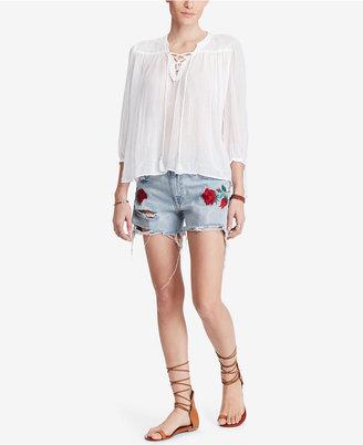Denim & Supply Ralph Lauren Lace-Up Cotton Peasant Top $98 thestylecure.com