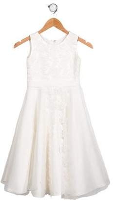 Joan Calabrese Girls' Lace Accented Sleeveless Dress