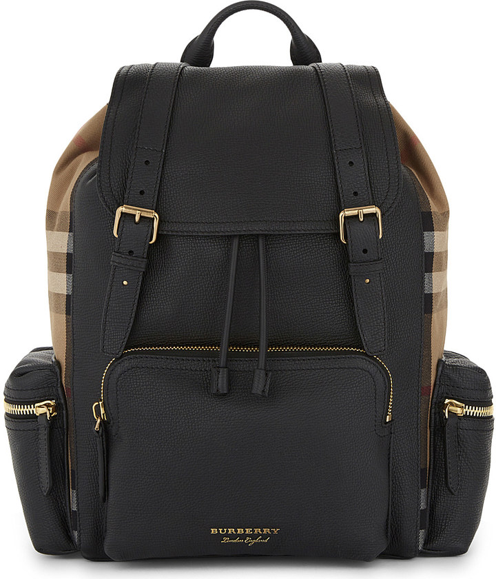 Burberry House Check fabric and leather backpack