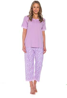 Patricia from Paris Women's 2 Piece Cotton Pajama Capri and Shirt Set (Purple,)
