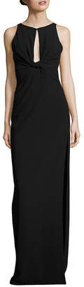 Halston Twisted Front Crepe Gown