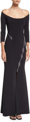 Chiara Boni Elektra Zip Off-the-Shoulder Long-Sleeve Evening Gown