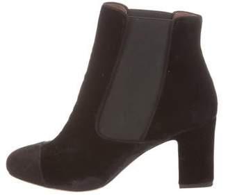 Tabitha Simmons Velvet Cap-Toe Ankle Boots