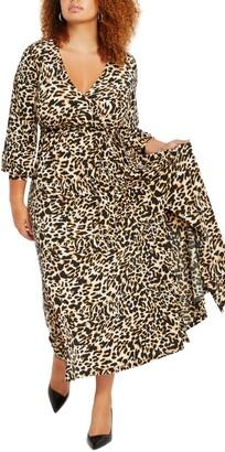 ELOQUII Leopard Print Wrap Front Maxi Dress