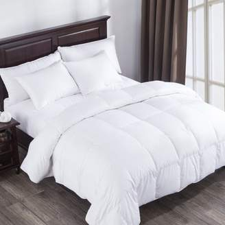 Pure Down Puredown Heavy Fill White Goose Down Comforter 400 Thread Count 600 Fill Power Eygptian Cotton, Twin Size, White