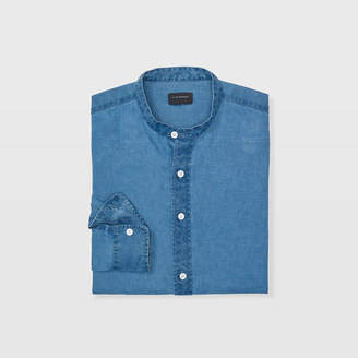 Club Monaco Slim Linen Band-Collar Shirt