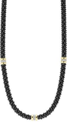 Lagos Black Caviar Diamond 3-Station Necklace