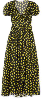 ATTICO Shirred Polka-dot Silk-georgette Maxi Dress - Black