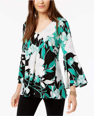Alfani Printed Pleated Top, Created for Macy's
