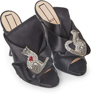 No.21 No. 21 Black Raso Embellished Satin Bow Mules Pumps