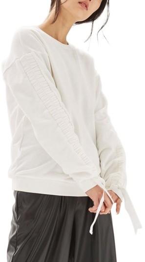 TopshopWomen's Topshop Ruched Sleeve Sweatshirt