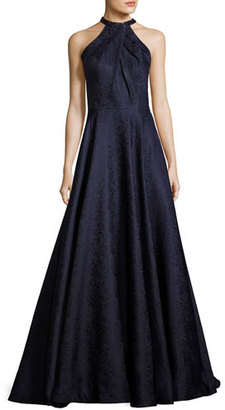 La Femme Sleeveless Satin Jacquard Ball Gown, Navy $498 thestylecure.com