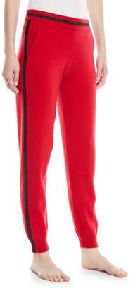Neiman Marcus Luxury Cashmere Metallic-Trim Jogger Pants