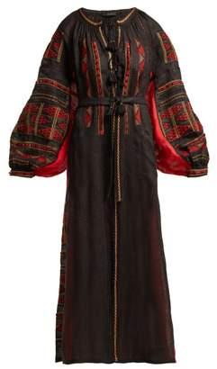 Vita Kin - Chestnut Blossoms Embroidered Linen Midi Dress - Womens - Black Multi