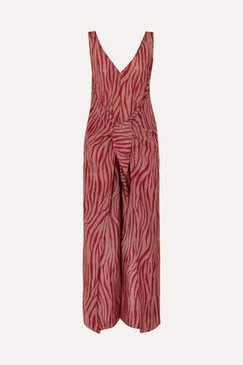 Diane von Furstenberg Acella Tie-front Tiger-print Cotton And Silk-blend Voile Jumpsuit - Claret