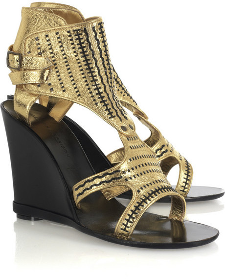 Sigerson Morrison Embroidered wedge sandals