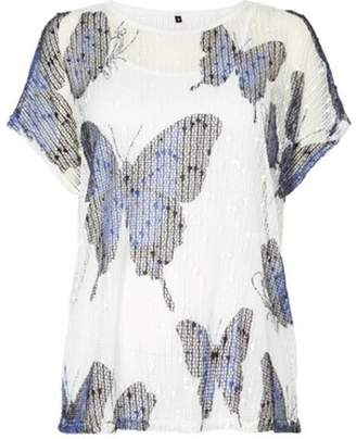 Dorothy Perkins Womens *Roman Originals Butterfly Print Jersey Knitted Top