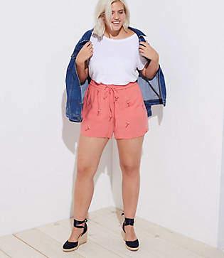LOFT Plus Embroidered Flamingo Fluid Drawstring Shorts