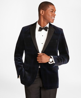 Brooks Brothers Regent Fit Black Watch Velvet Tuxedo Jacket