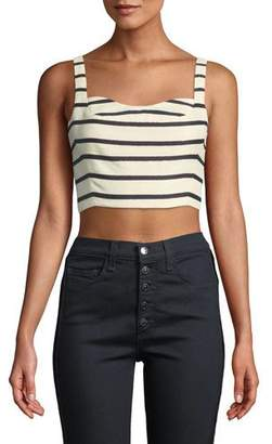 Veronica Beard Gina Striped Bustier Crop Top