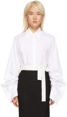 Ann Demeulemeester White Cropped Byron Shirt