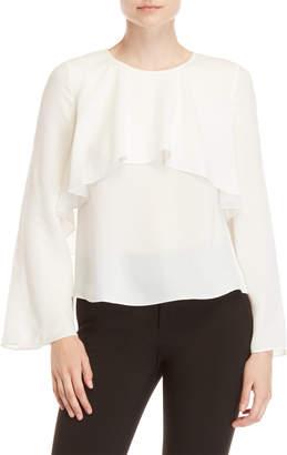 Badgley Mischka Long Sleeve Flounce Silk Blouse