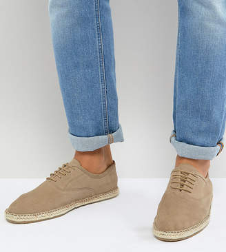 Frank Wright Wide Fit Lace Up Espadrilles In Beige Suede