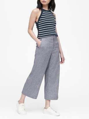 Banana Republic Petite High-Rise Wide-Leg Cropped Linen-Cotton Pant