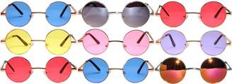 OWL Lot of 9 Pairs wholesale Round Lens Sunglasses Metal Frame wholesale Retro Circle Colored Tint Hippie Hipster Vintage Spring hinge