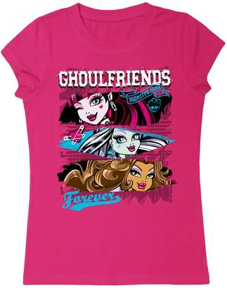 Monster High Big Girls' Ghoulfriends Crew Neck T-Shirt, Purple (7-8)