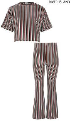 River Island Girls Mono Stripe Ribbed T-Shirt & Trousers Set - Natural