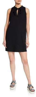 Splendid Tie-Neck Sleeveless Frayed Mini Dress