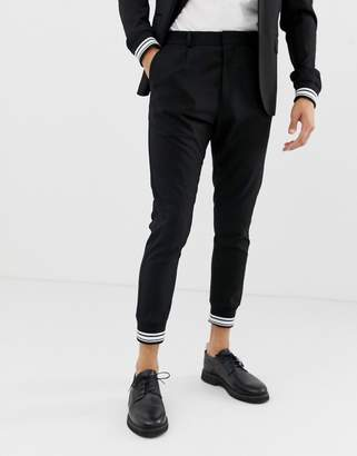 Solid smart suit pant with stripe cuff ankle in black