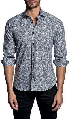 Jared Lang Men's Paisley-Print Long-Sleeve Button-Down Shirt