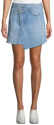 Derek Lam 10 Crosby Cleo A-Line Wrap Denim Mini Skirt