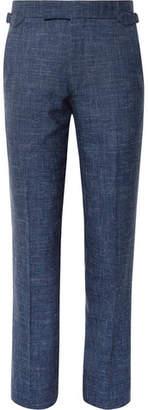 Richard James Storm-Blue Seishin Slim-Fit Slub Wool And Linen-Blend Suit Trousers