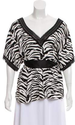 Alice + Olivia Silk Zebra Print Top