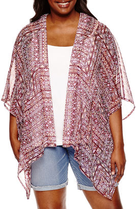 ARIZONA Arizona 3/4 Sleeve Pattern Kimono Juniors Plus $30 thestylecure.com