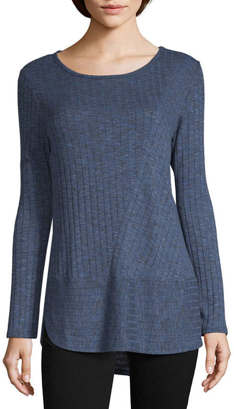 LIZ CLAIBORNE Liz Claiborne Long Sleeve Crew Neck Stripe Pullover Sweater