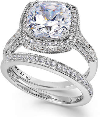 Arabella Sterling Silver Ring Set, Swarovski Zirconia Bridal Ring and Band Set (7-5/8 ct. t.w.)