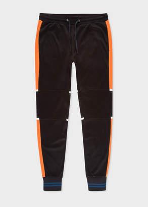 Paul Smith Men's Black Colour-Block Panelled Cotton-Blend Sweatpants