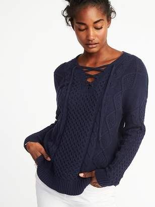 Old Navy Cable-Knit Lace-Up Sweater for Women