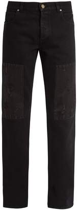 Calvin Klein Distressed-patch straight-leg denim jeans