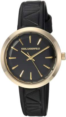 Karl Lagerfeld Women's 'Janelle' Quartz Stainless Steel and Leather Casual Watch, Color: (Model: KL1610)