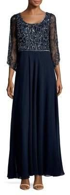 J Kara Quarter-Sleeve Sequined Dress
