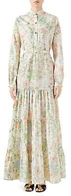 Gucci Women's Faded Flora Cotton Poplin Maxi Dress