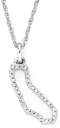 JCPenney FINE JEWELRY 1/10 CT. T.W. Diamond Sterling Silver California State Pendant Necklace