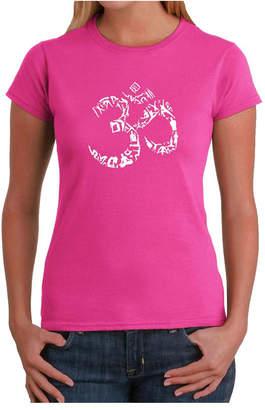d248924d4fb1c Women Word Art T-Shirt - The Om Symbol Out of Yoga Poses